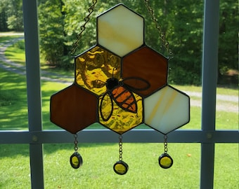 Stained Glass Bee on Dripping Honeycomb