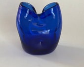Vintage dark blue Blenko pinched Art glass bud vase