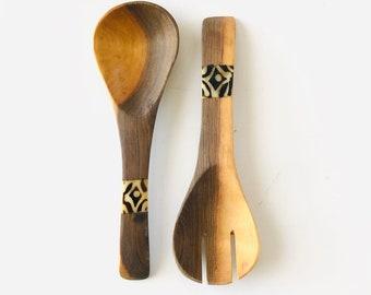 Vintage Wood Salad Servers Teal Wood Handles Hand Carved Teak Wood Salad Tossers Round Handled Wooden Utensils