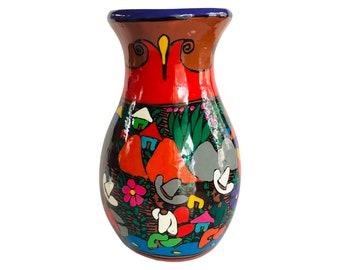 Vintage hand painted Isidoro Mexican pottery storytelling folk art vase
