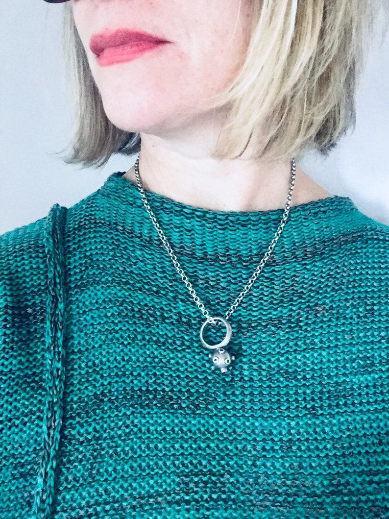 N99 Sterling silver \u201cSputnik\u201d ring pendant on chain Lisa Colby Metalsmith.