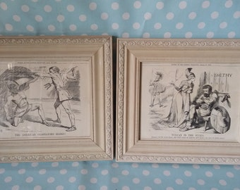 b559a03cc54 Pair of Large Vintage Reproduction Punch Prints in Glazed Painted Shabby  Chic Frames