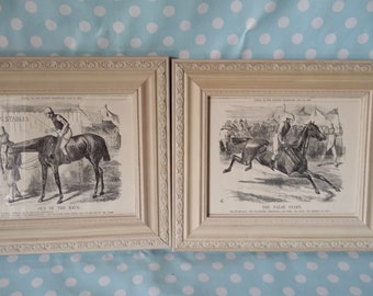 10968b5f417 Pair of Large Vintage Reproduction Punch Prints in Glazed Painted Shabby  Chic Frames Horse Racing