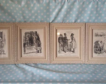 7fd8f00f137 Set of 4 Large Vintage Reproduction Punch Prints in Glazed Painted Shabby  Chic Frames
