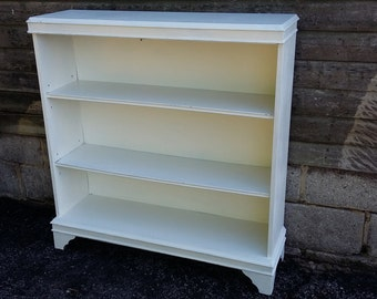 Vintage Painted Shabby Chic Bookcase Shelves Adjustable
