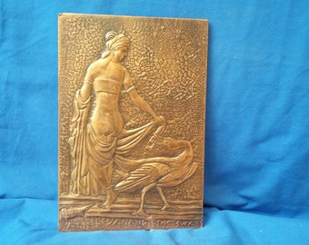 Vintage Copper Plaque of Naked Lady and Swan Nouveau