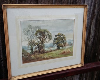 Large Vintage original Watercolour Landscape Mist Over The Fields Old Basing. Hampshire