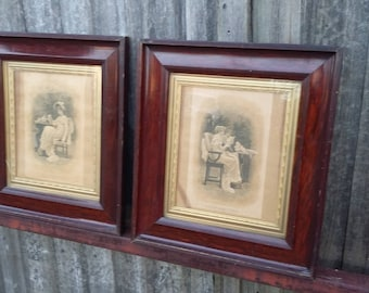 Pair of Vintage Victorian Prints Frames Expectation and Confidences.