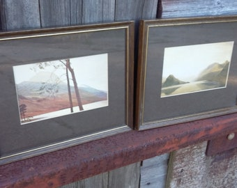 Pair of Vintage Retro Eighties Original W Heaton Cooper Lake District Prints Buttermere, Crummock Water