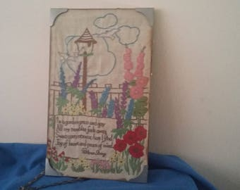 Vintage Patience Strong 'In a Garden….' Embroidery. Poetry