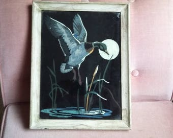 Vintage Original Painting of Flying Duck and Moon