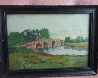 Vintage Mixed Media Painting Early 20th C Wagon and Bridge.