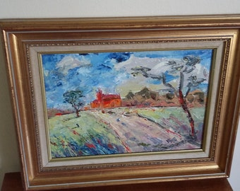 Original Oil Painting on Canvas in a Gilt Frame.