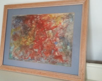 Original Pastel and Pencil Abstract Painting
