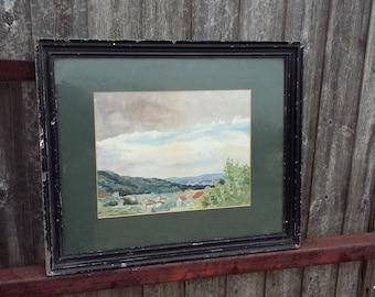 Large Original Vintage Landscape Watercolour. Signed Ridley