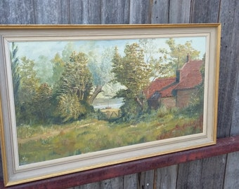 Vintage Oil Painting of Barton Turn Norfolk Landscape Trees Lake Houses.