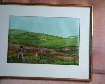 Cute Original Oil Painting of Ploughing Landscape