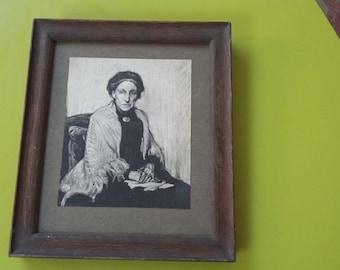 Vintage Oak Frame. Portrait of Lady