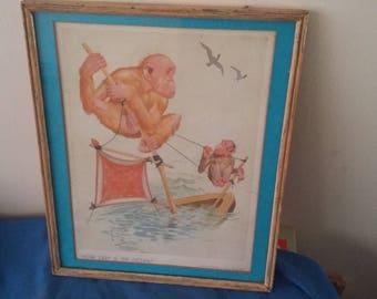 Genuine Vintage Lawson Wood Gran Pop Print 'How Deep Is The Ocean' Humour Comic