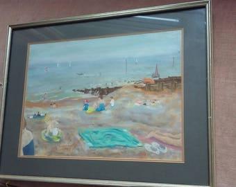Original Pastel Painting of a Beach Scene Sea 'On The Beach'