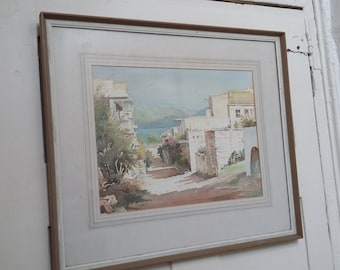 Large Vintage Retro Watercolour of a Mediterannean Scene