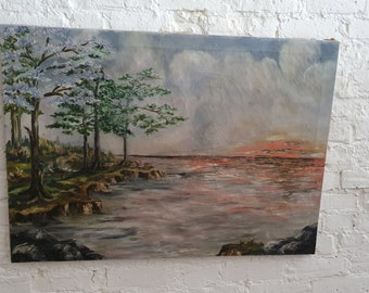 Enormous Vintage Original Still Life Oil Painting on Canvas Sunset on a Lake. 40 x 29 in