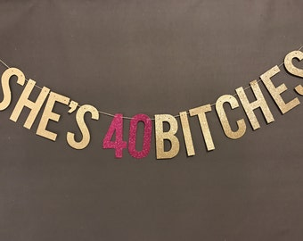 40th Birthday Decorations Party Banner Decor Garland Glitter Banners