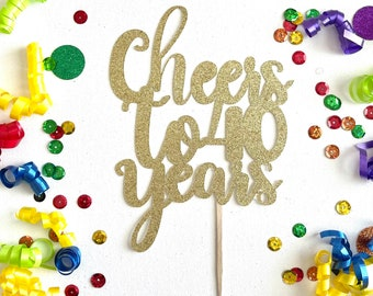 Perfect for 40th Birthday Beers Party Gift Decorations LINGTEER Cheers to 40 Years Cake Bunting Banner Topper Black /& Gold