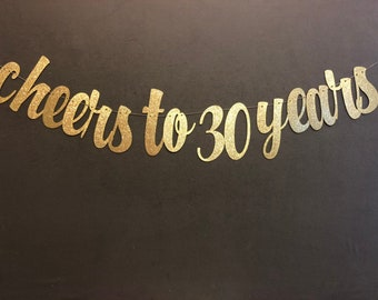 Cheers To 30 Years Banner 30th Birthday Party Decor Glitter Banners