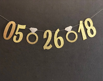 Save the Date Banner, Wedding Banners, Bachelorette Party Decorations/Gold Glitter Banner/ Engagement party decor
