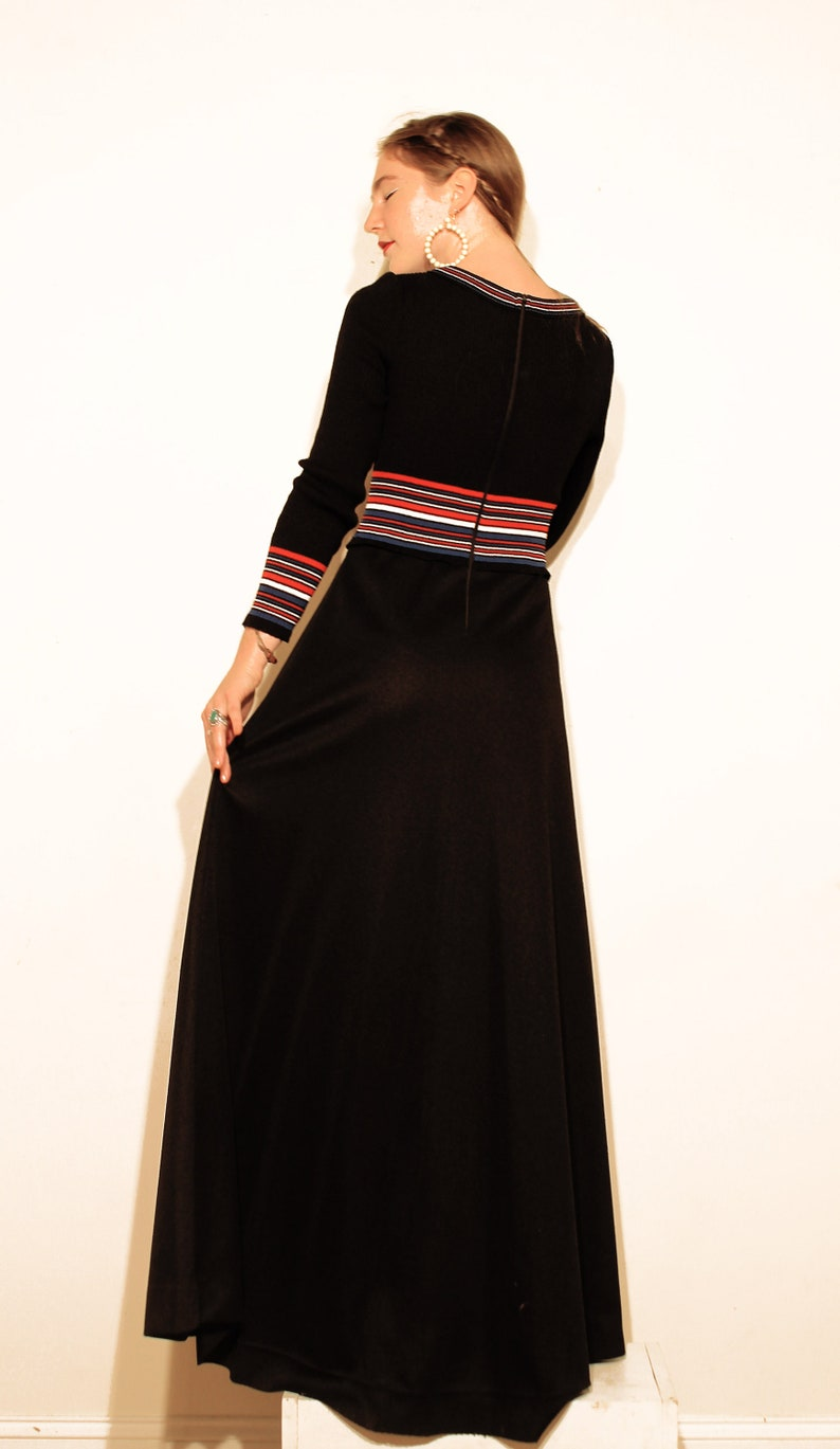 e8fe0039d64 Red White and Blue Striped Rib Knit 70s Maxi