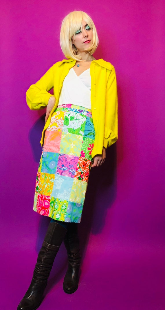 60s Vintage Custom-Made Lilly Pulitzer Fabic Skirt