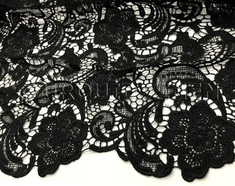 English Lace In Black   Lace Fabric With Floral Embroidered Design  Throughout   Great For Weddings, Bridal Parties, And Special Events