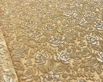 Valentina Lace Fabric in Gold - Elegant Bridal Lace Fabric With Sequins Embroidery Throughout - Perfect For Weddings