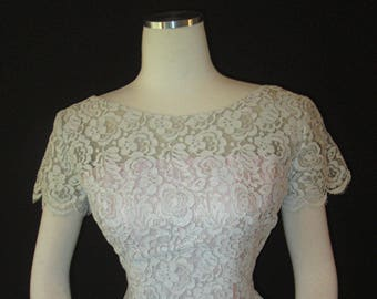 Vintage 50s/60s Lilli Diamond California Scalloped Lace Dress Sz S/M Wiggle