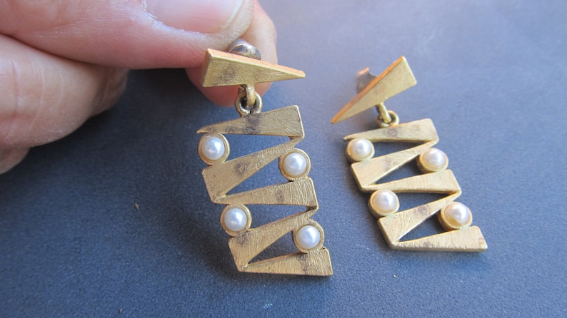 Vintage golden earrings with pearl romantic recycled jewelry