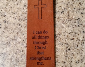 Leather book mark with Philippians 4:13, leather book marker, religion, aa recovery
