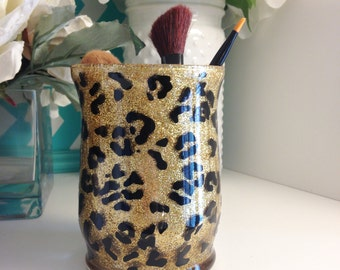 Leopard Makeup Brush Holder - SALE