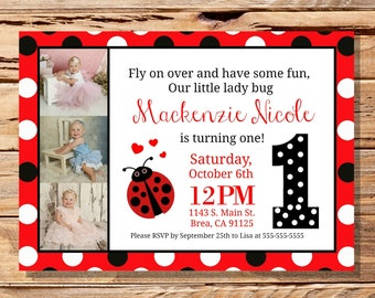 Lady Bug First Birthday Invitation, Lady bug