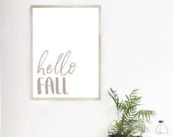 Hello fall PRINTABLE- Digital download
