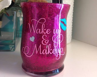 Wake Up and Makeup, Makeup Holder, Makeup Brush Holder, MUA