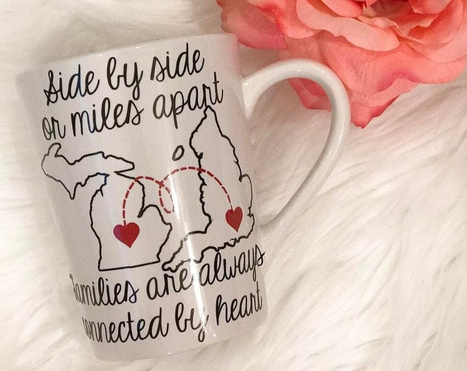 Featured listing image: Side by side or miles apart families are always connected by heart mug