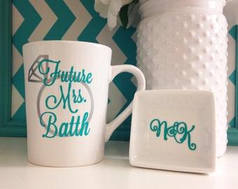 Bridal Set : Mrs ring dish and mug