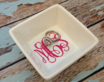 MONOGRAMMED personalized Jewelry dish, ring holder, Preppy