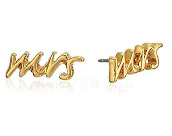 Mrs. Earrings, Mrs. Necklace, Earrings, Gold, Ready to Ship
