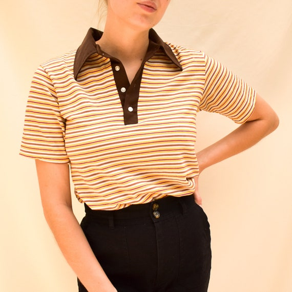 70s Striped Polo Shirt - 70s striped shirt 70s clo