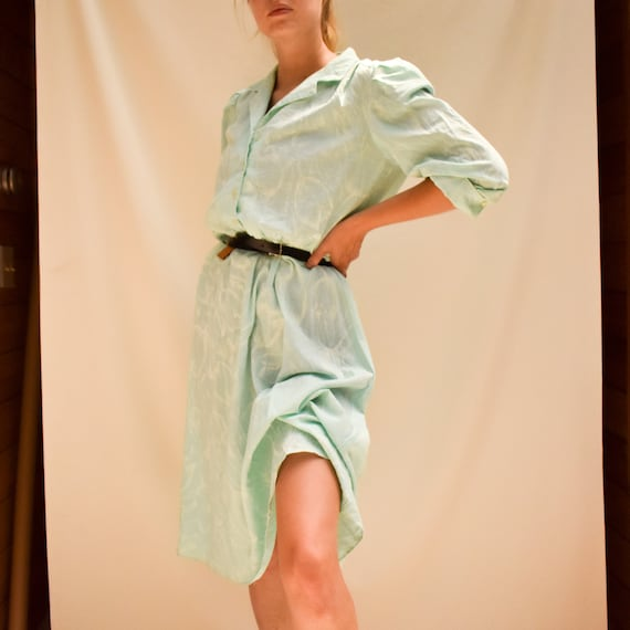 70s Mint Shirt Dress - tulip print dress 70s secr… - image 2