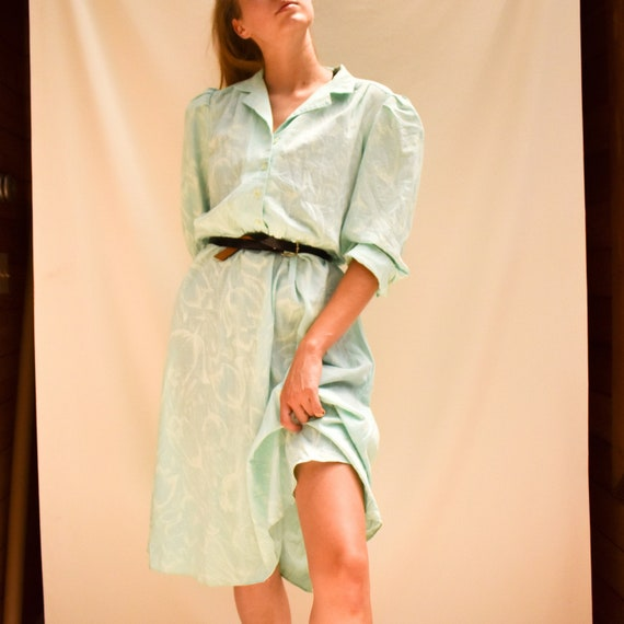 70s Mint Shirt Dress - tulip print dress 70s secre