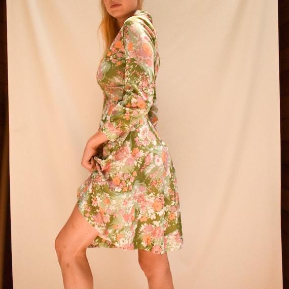 70s Floral Fit & Flare Dress - sears dress v neck