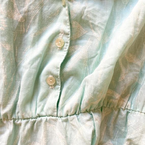 70s Mint Shirt Dress - tulip print dress 70s secr… - image 6